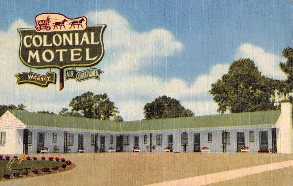Paris kentucky colonial motel street view antique postcard for A m motors paris ky