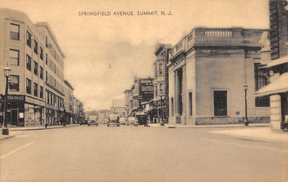 Summit New Jersey Springfield Avenue Street Scene Antique
