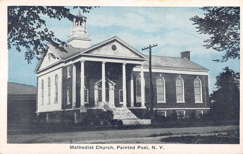 Painted post new york methodist church street view antique for Painted post ny
