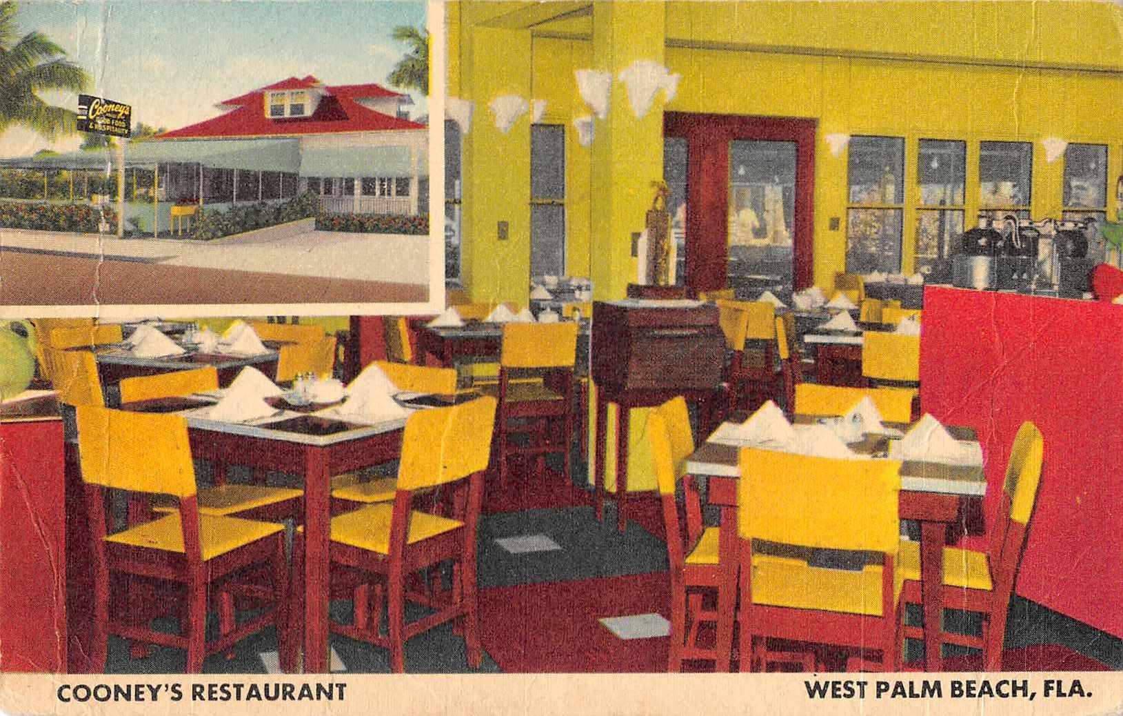 West Palm Beach Florida Cooney S Restaurant Dining Room Postcard Je229870